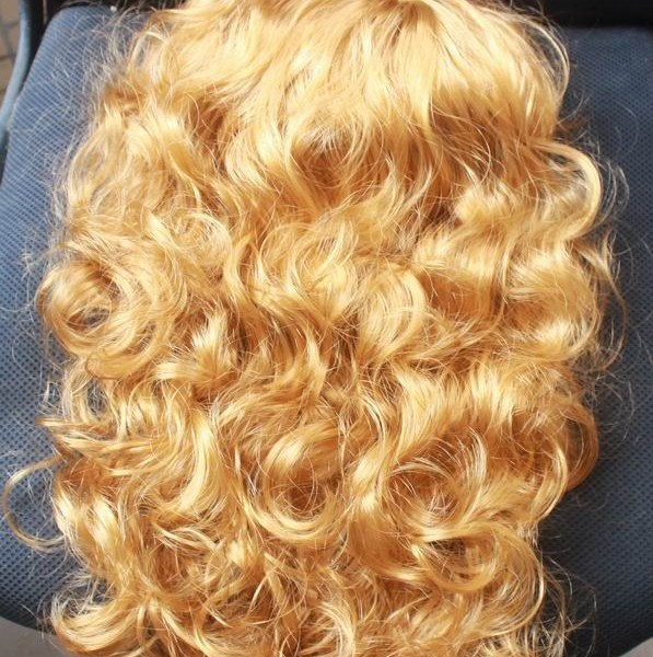 Golden curly, wig (1)