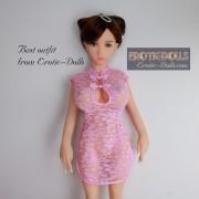 Pink lace cheongsam 01